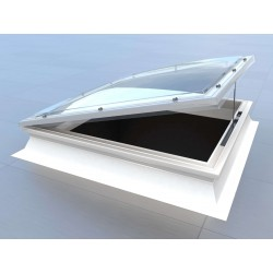 Mardome Trade Double Glazing Flat Roof Window with Tall Kerb Vented Powered Opening - 600 X 600mm